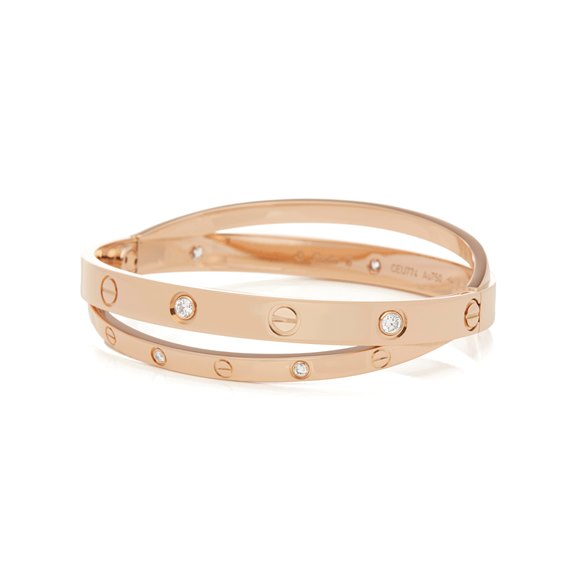 Cartier 18k Rose Gold Diamond Set Love Bangle