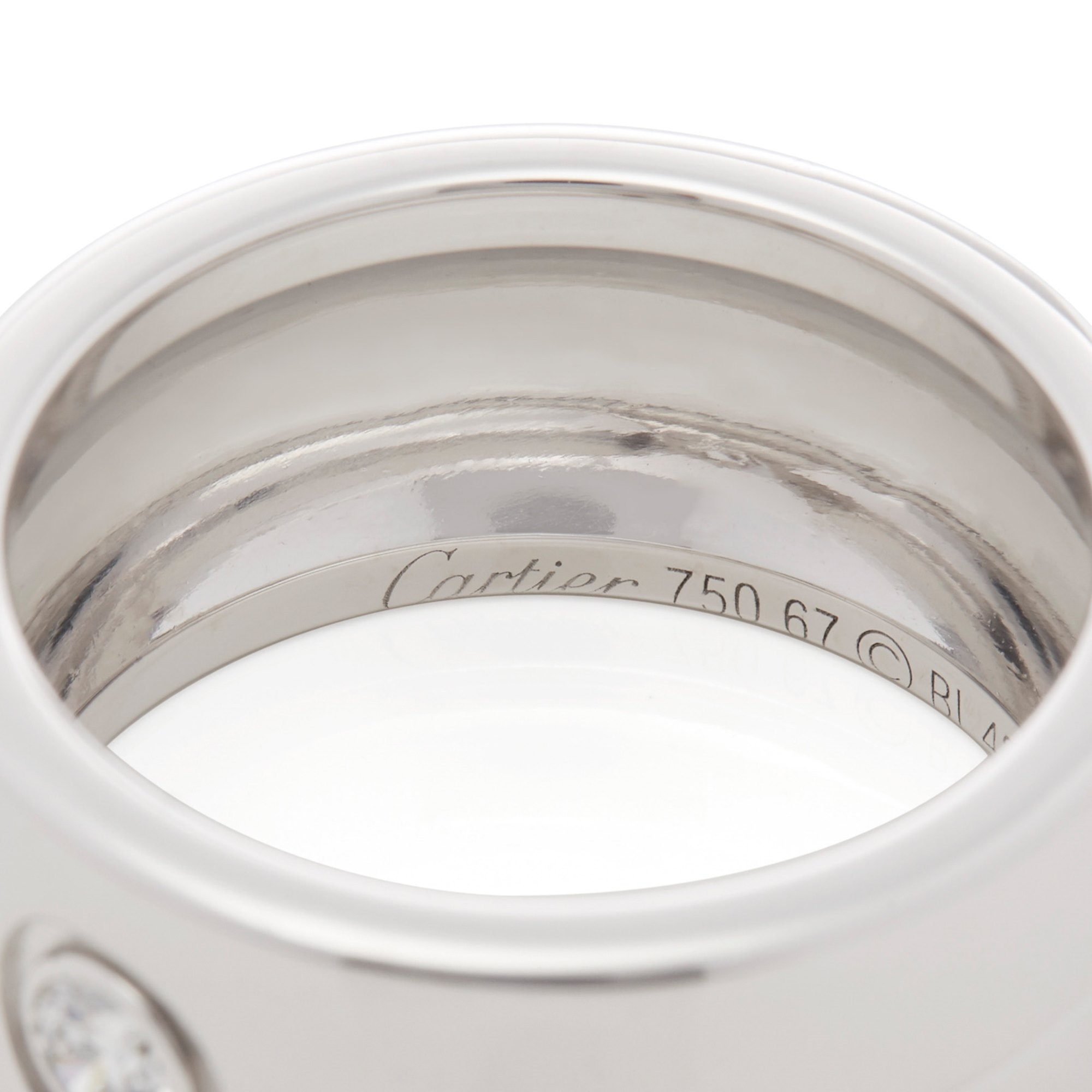 Cartier 18ct White Gold Single Diamond Trinity Ring