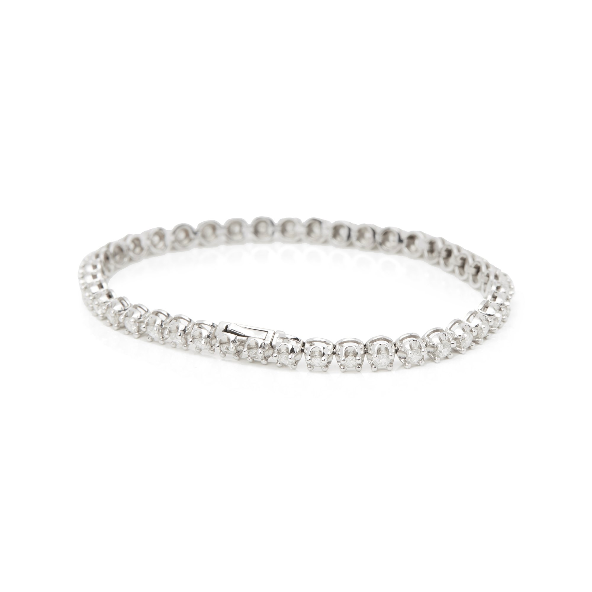 Diamond 18ct White Gold 3.28ct Diamond Line Bracelet