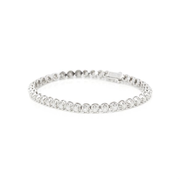 18ct White Gold 3.28ct Diamond Line Bracelet