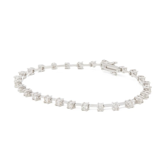 18ct White Gold 2.32ct Diamond Line Bracelet