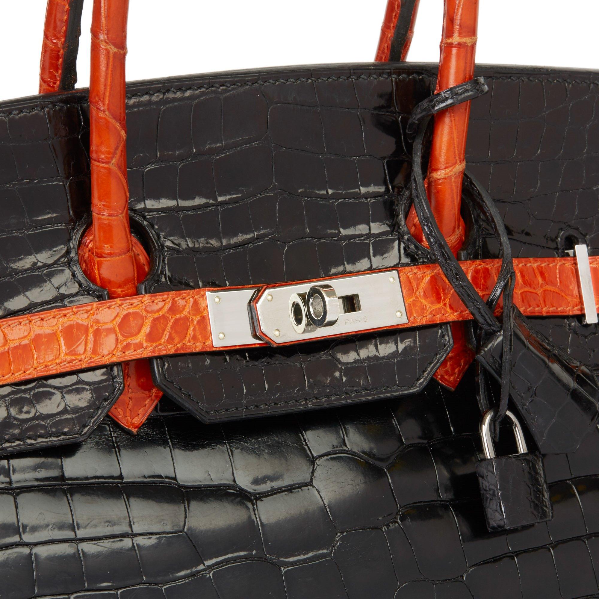 Hermès Black & Orange H Shiny Porosus Crocodile Leather Birkin 35cm
