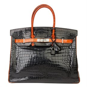 Hermès Black & Orange H Shiny Porosus Crocodile Leather Birkin 35cm