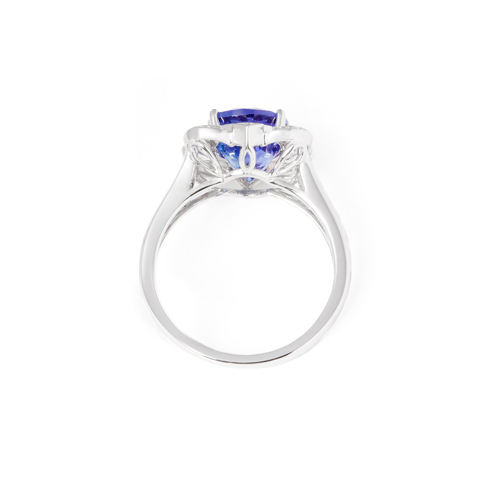 David Jerome Certified 3.71ct Untreated Oval Cut Tanzanite and Diamond Ring