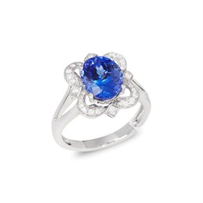 David Jerome Certified 3.71ct Untreated Oval Cut Tanzanite and Diamond 18ct Gold Ring