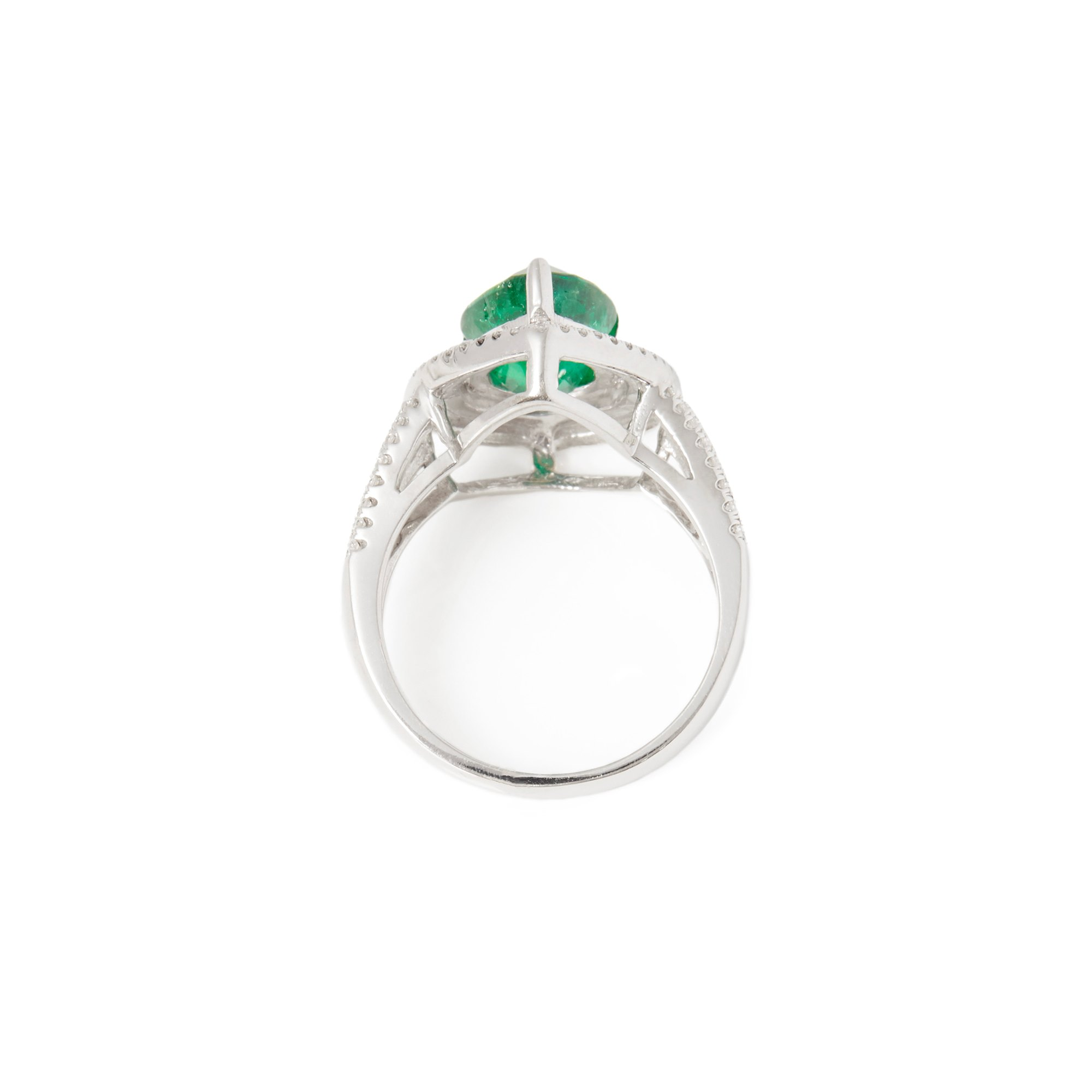 David Jerome 18ct White Gold Emerald and Diamond Ring