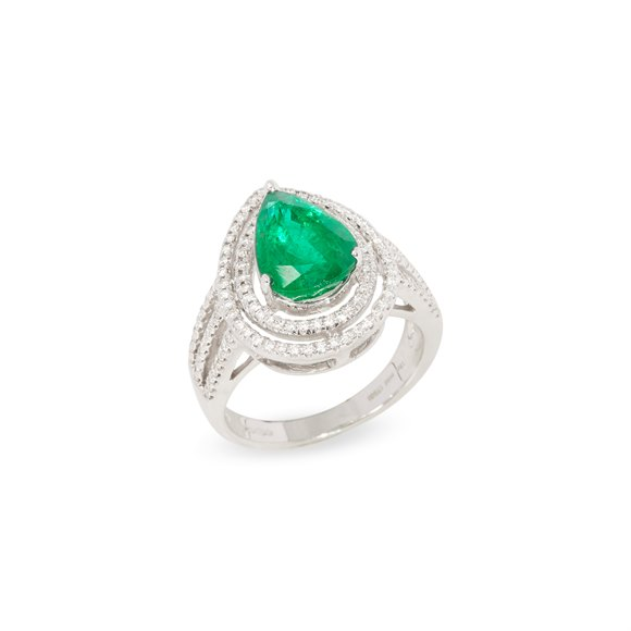 David Jerome Certified 3.68ct Untreated Zambian Pear Cut Emerald and Diamond 18ct Gold Ring