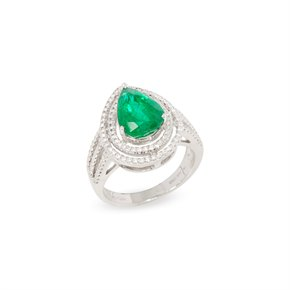 David Jerome Certified 3.68ct Untreated Zambian Pear Cut Emerald and Diamond Ring