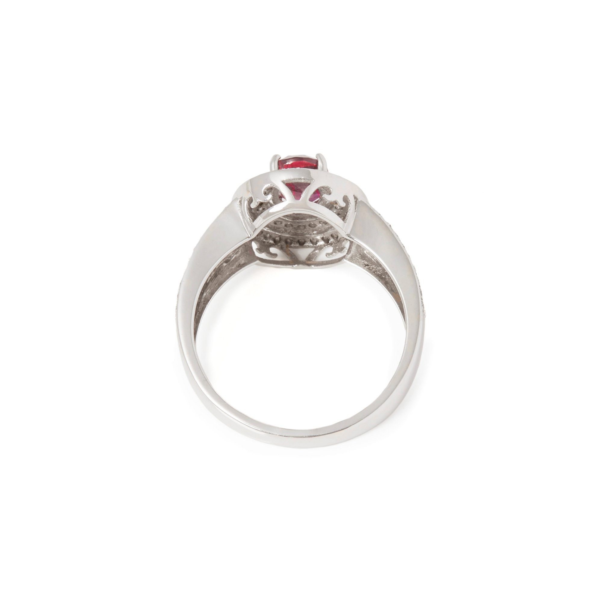 David Jerome Certified 1.09ct Untreated Burmese Oval Cut Ruby and Diamond 18ct gold Ring