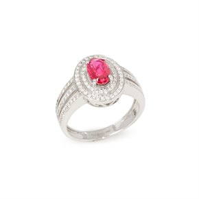 David Jerome Certified 1.09ct Untreated Burmese Oval Cut Ruby and Diamond Ring