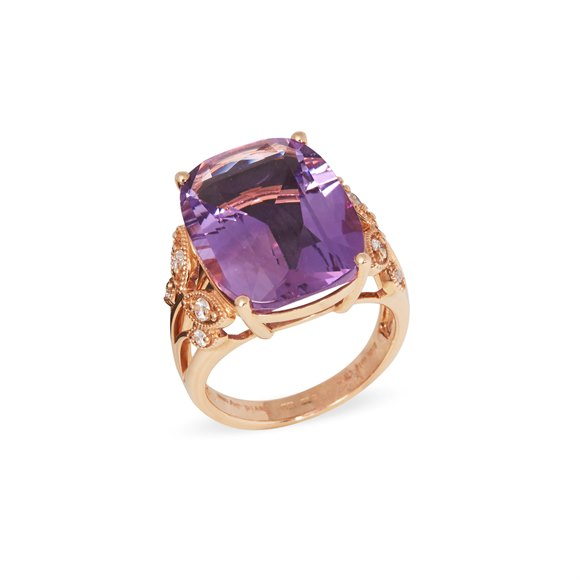 David Jerome 18ct Yellow Gold Amethyst and Diamond Ring