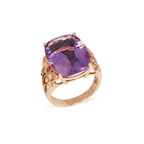 David Jerome Certified 12.74ct Russian Amethyst and Diamond 18ct gold Ring