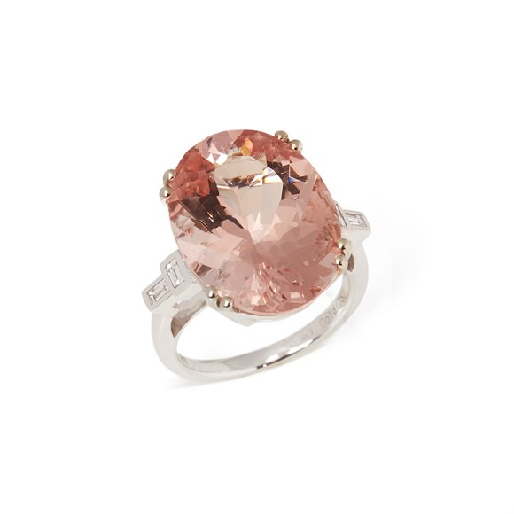 David Jerome Certified 18.49ct Oval cut Brazilian Morganite and Diamond 18ct gold ring