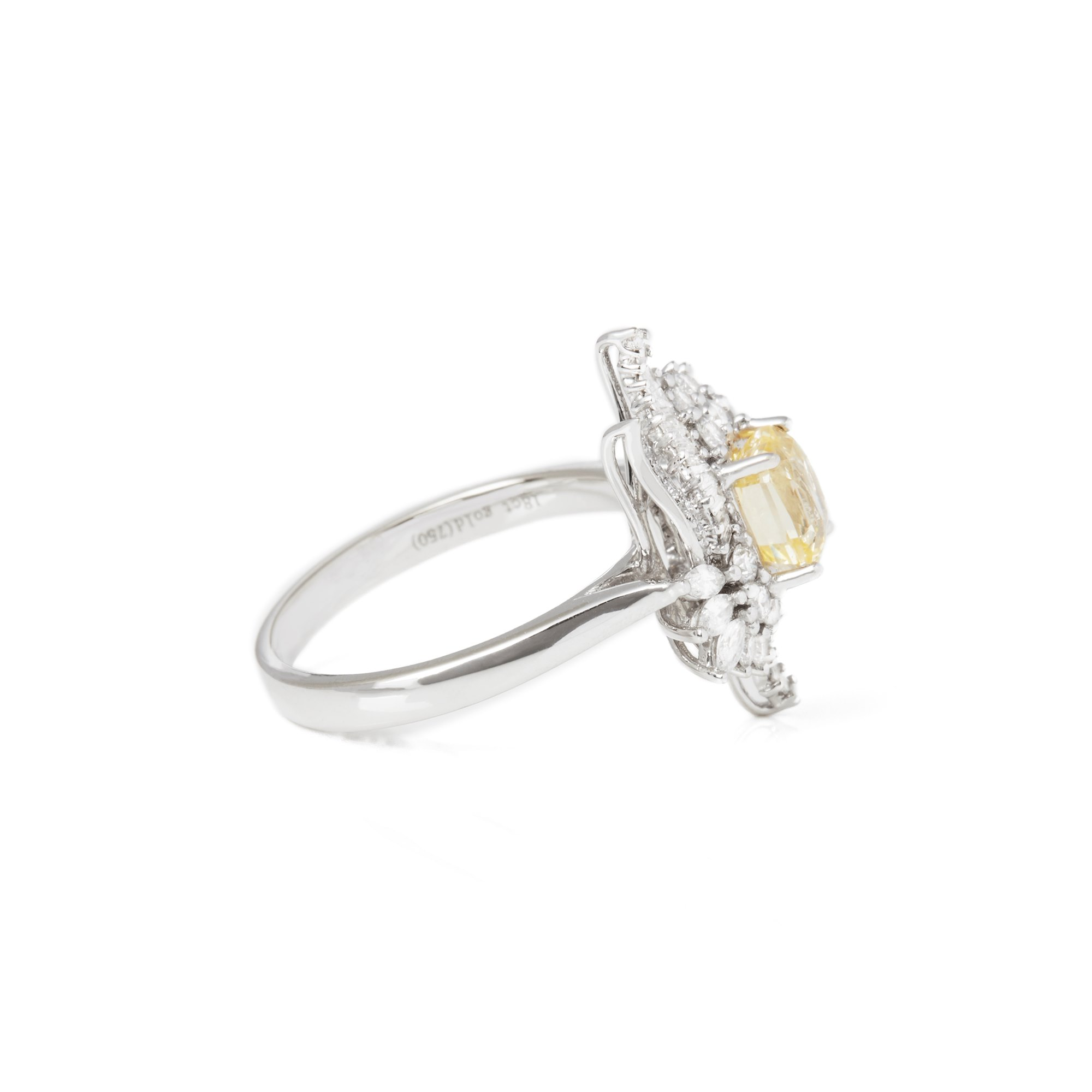 David Jerome Certified 1.57ct Octagon Cut Unheated Yellow Sapphire and Diamond 18ct Gold Ring