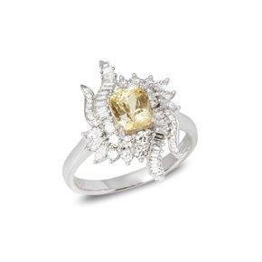 David Jerome 18k White Gold Yellow Sapphire and Diamond Ring