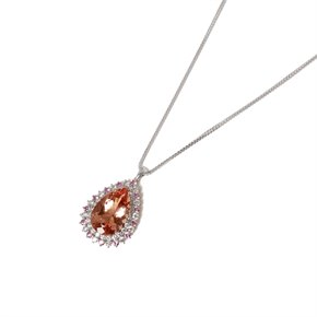 David Jerome 18k White Gold Morganite and Diamond Pendant