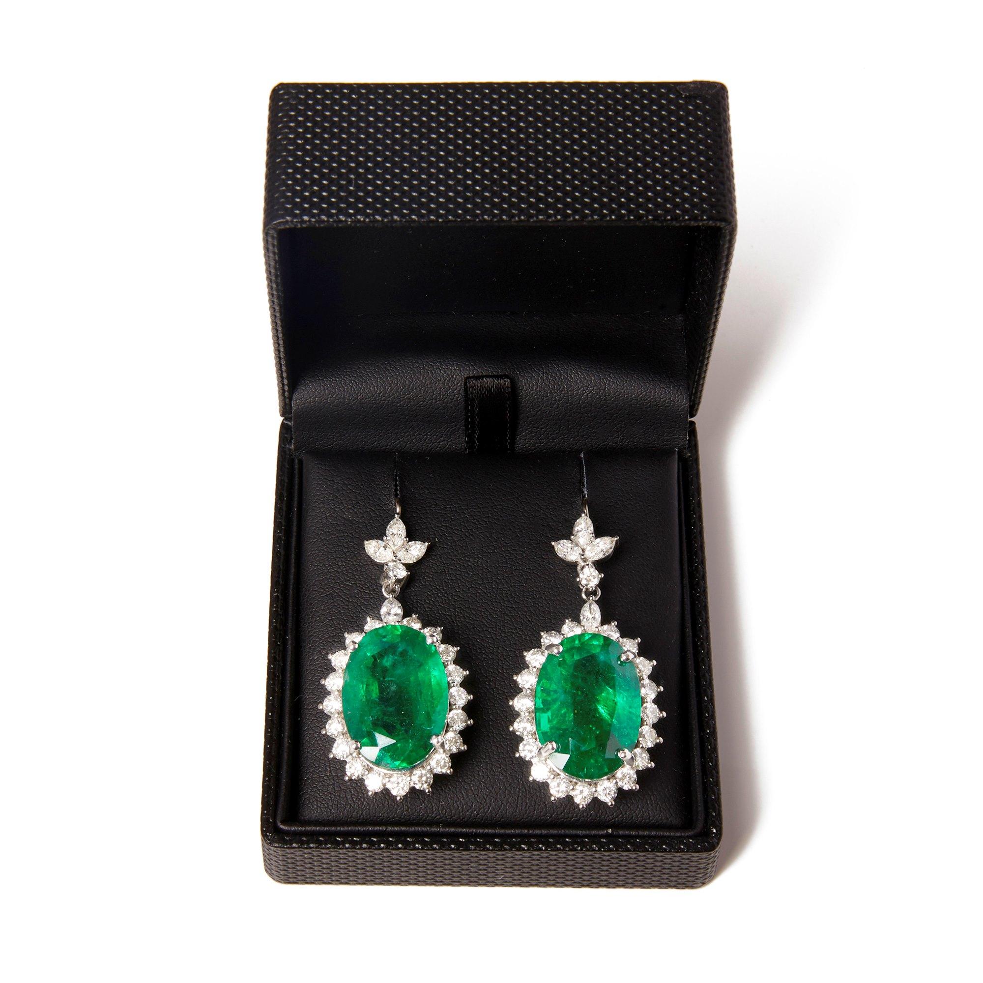 David Jerome 18k White Gold Emerald and Diamond Drop Earrings
