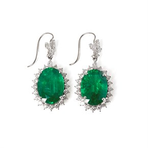 David Jerome 18k White Gold Emerald and Diamond Drop Earrings