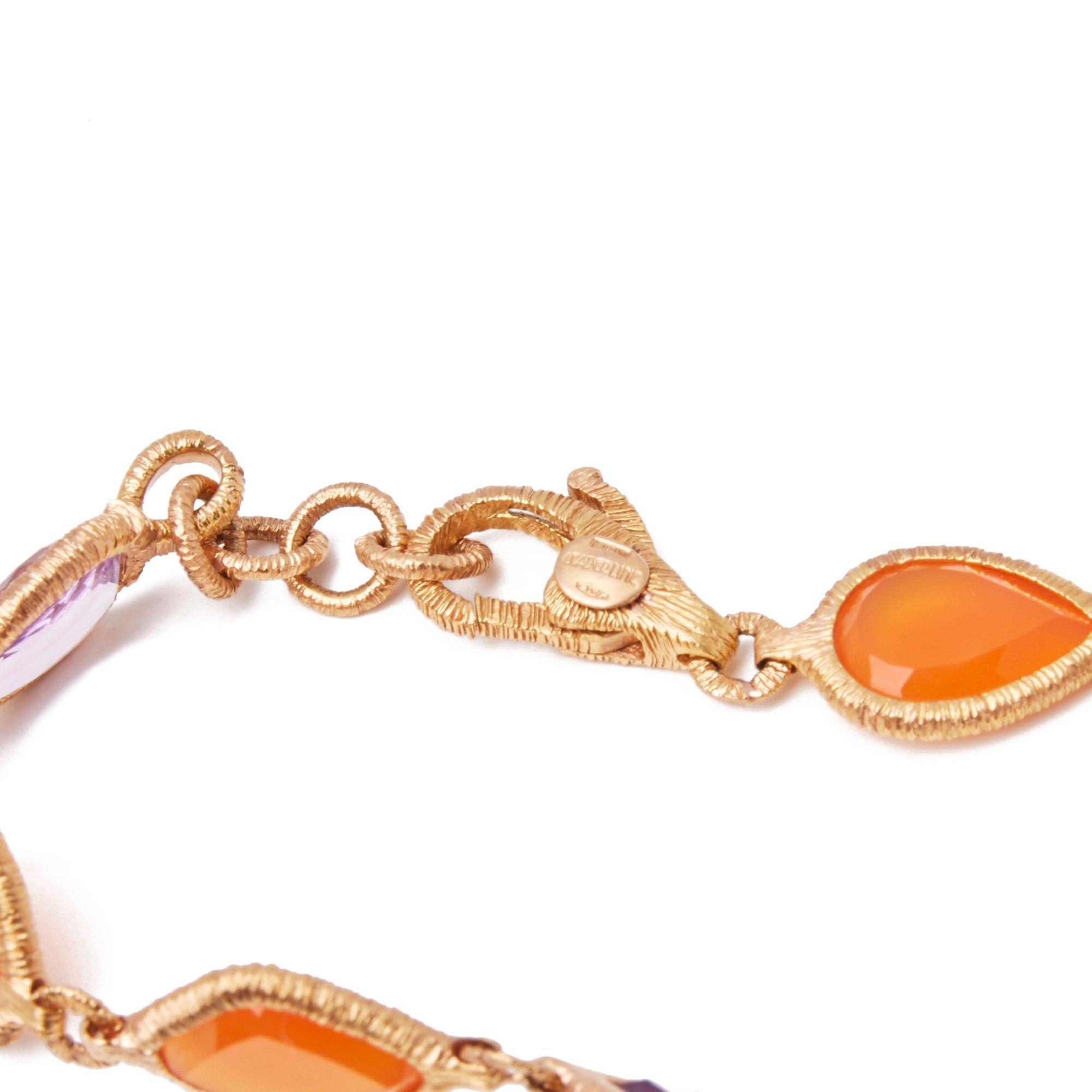 Amethist 18k Yellow Gold Carnelian and Amethyst Bracelet
