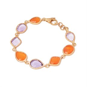 18k Yellow Gold Carnelian and Amethyst Bracelet