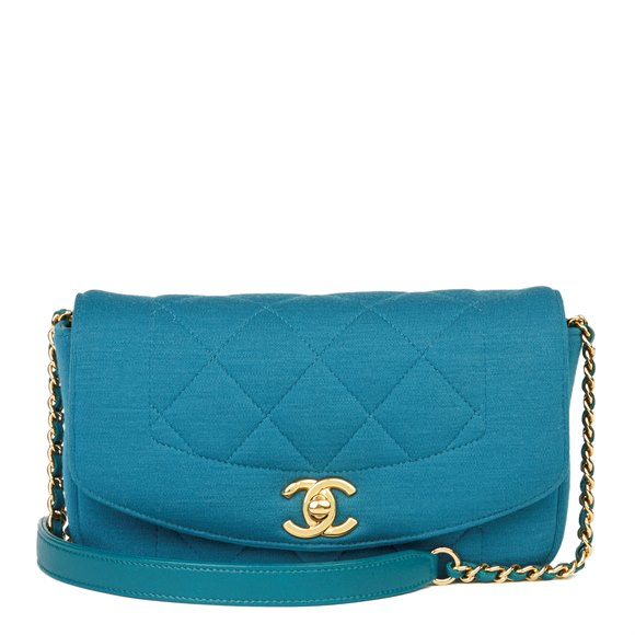 Chanel Teal Quilted Jersey Fabric Mini Reissue Diana Classic Single Flap Bag