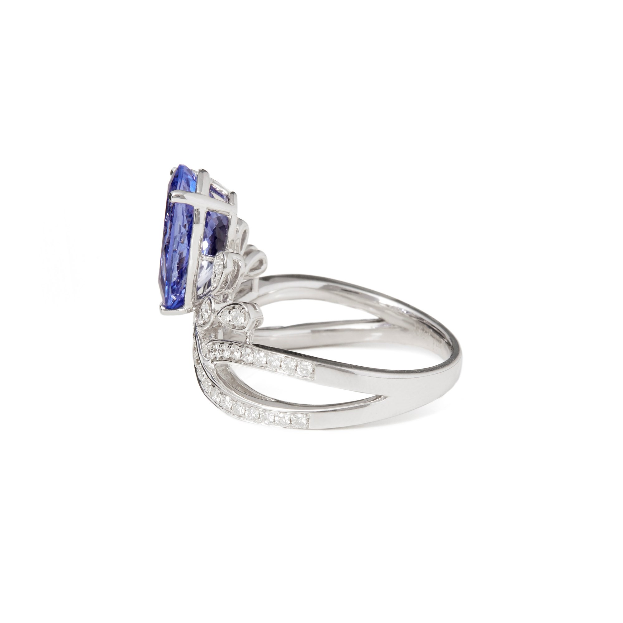 David Jerome Certified 2.7ct Untreated Pear Cut Tanzanite and Diamond 18ct Gold Ring