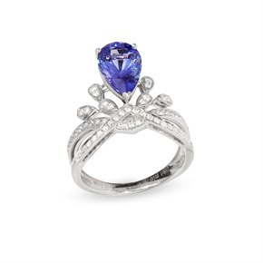David Jerome Certified 2.7ct Untreated Pear Cut Tanzanite and Diamond Ring