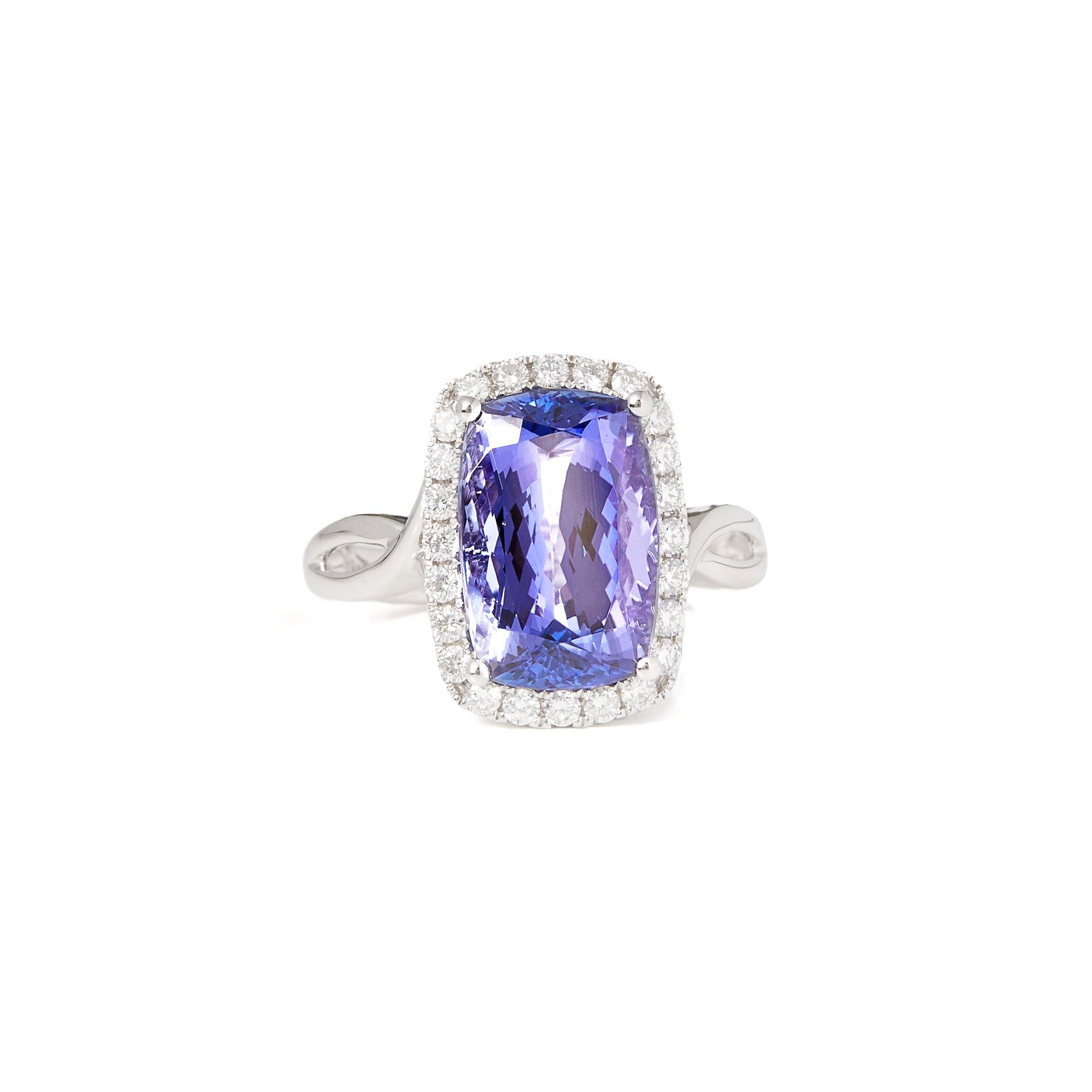 David Jerome Certified 5.60ct Cushion Cut Tanzanite and Diamond Ring