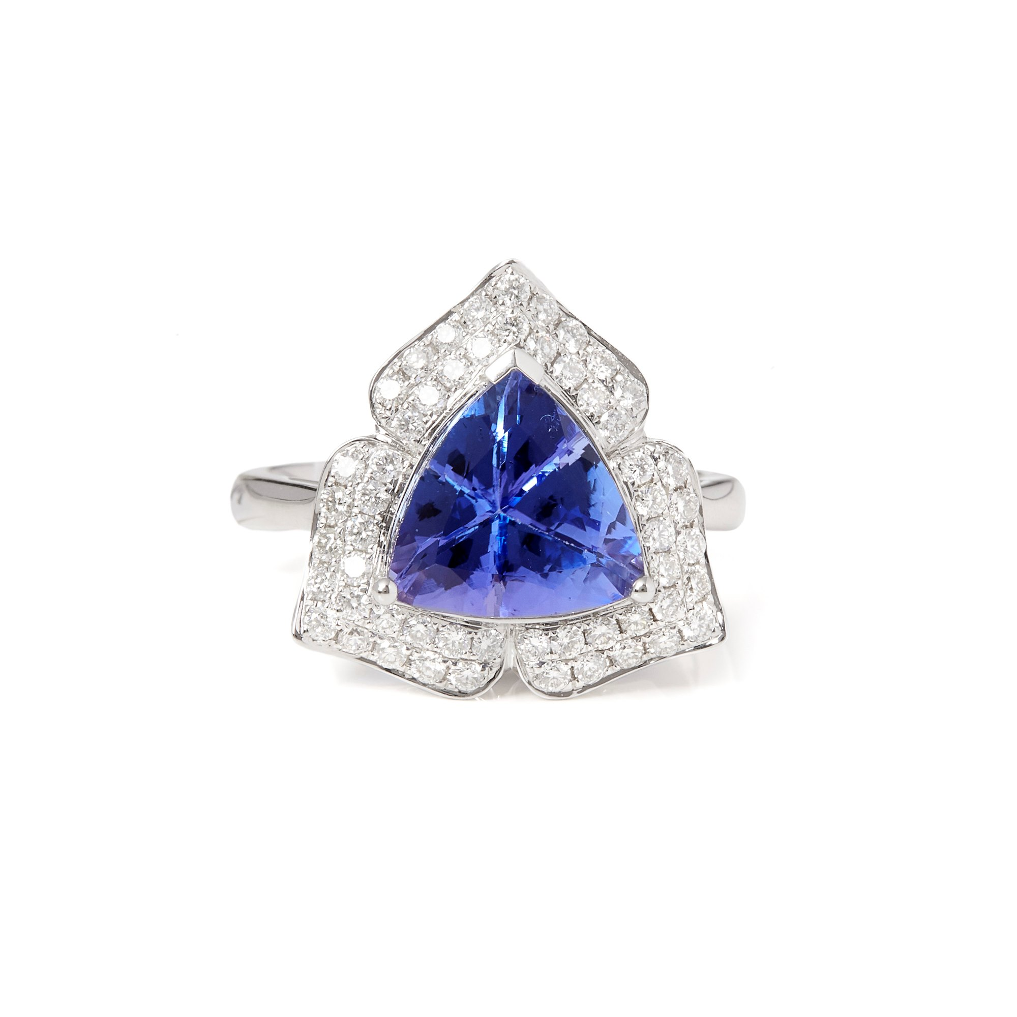 David Jerome Certified 3.31ct Trillion Cut Tanzanite and Diamond 18ct Gold Ring