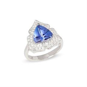 David Jerome Certified 3.31ct Trillion Cut Tanzanite and Diamond 18ct Gold Ring