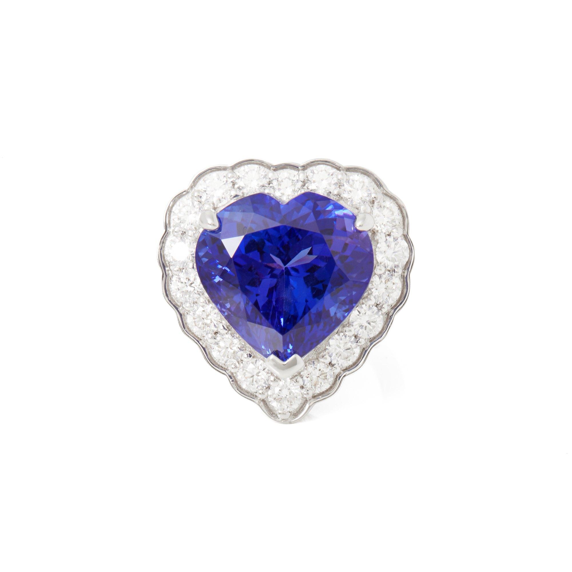David Jerome Certified 15.44ct Heart Cut Tanzanite and Diamond 18ct Gold Ring