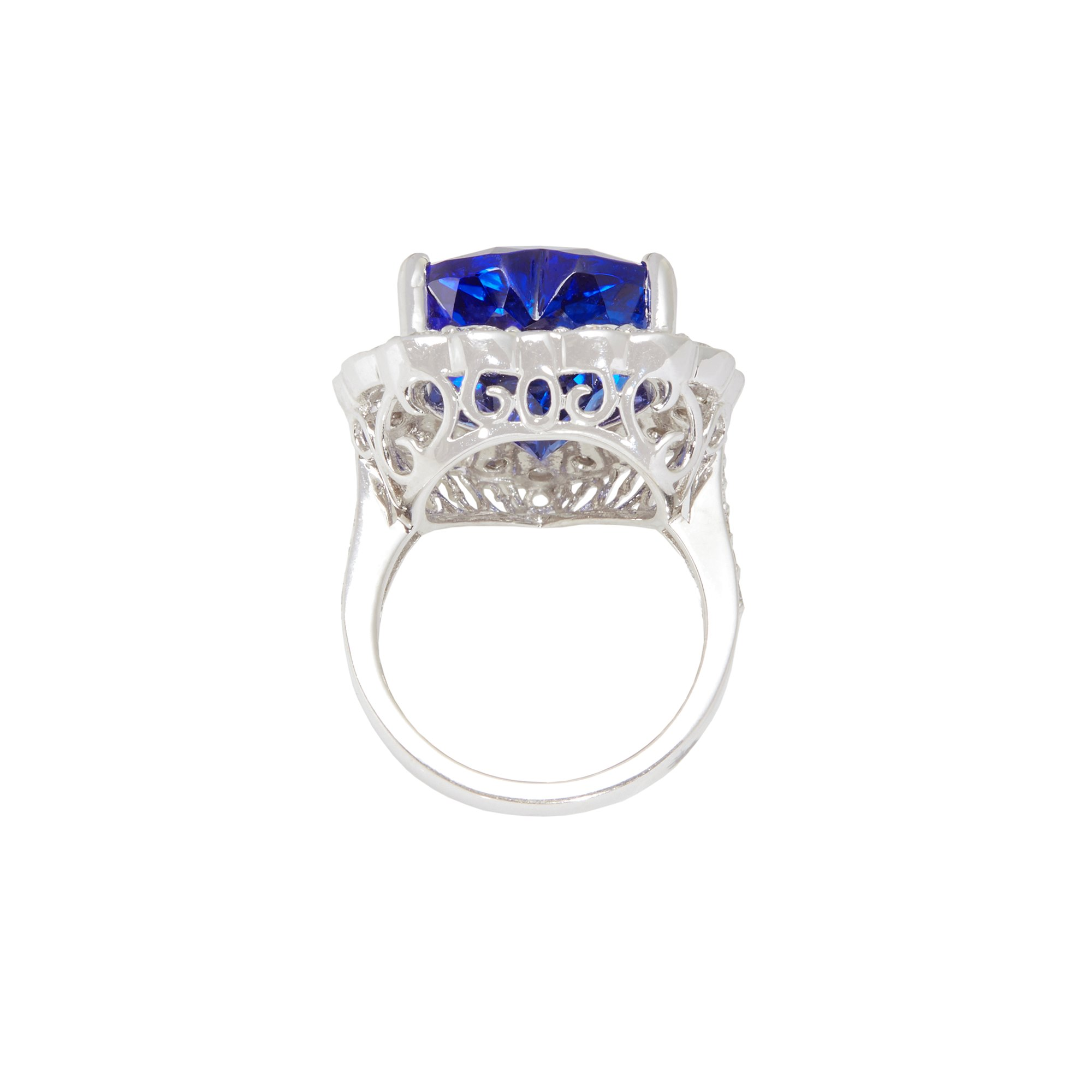 David Jerome Certified 15.44ct Untreated Heart Cut Tanzanite and Diamond Ring