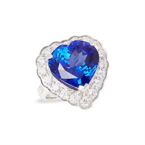 David Jerome Certified 15.44ct Heart Cut Tanzanite and Diamond 18ct Gold Ring