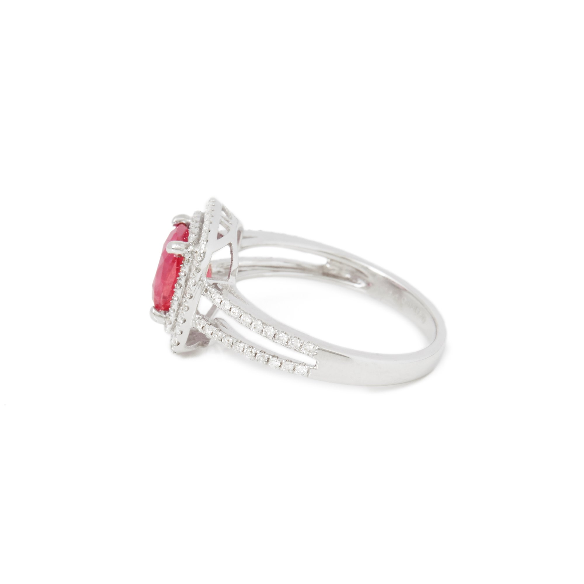 David Jerome Certified 1.85ct Untreated Vietnamese Cushion Cut Ruby and Diamond 18ct Gold Ring