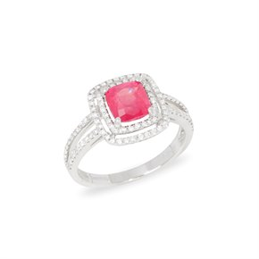 David Jerome Certified 1.85ct Untreated Vietnam Cushion Cut Ruby and Diamond Ring