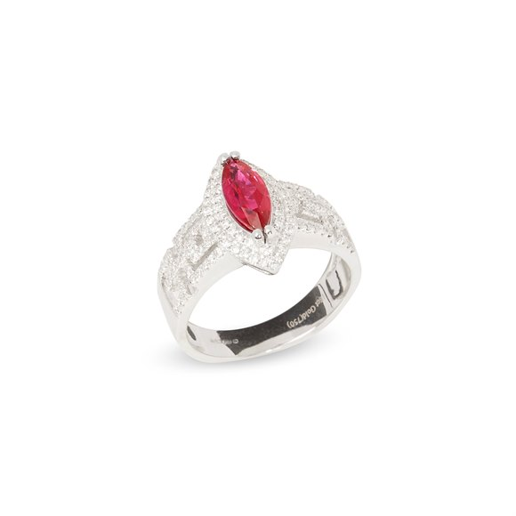 David Jerome Certified 1.13ct Untreated Burmese Marquise Cut Ruby and Diamond Ring