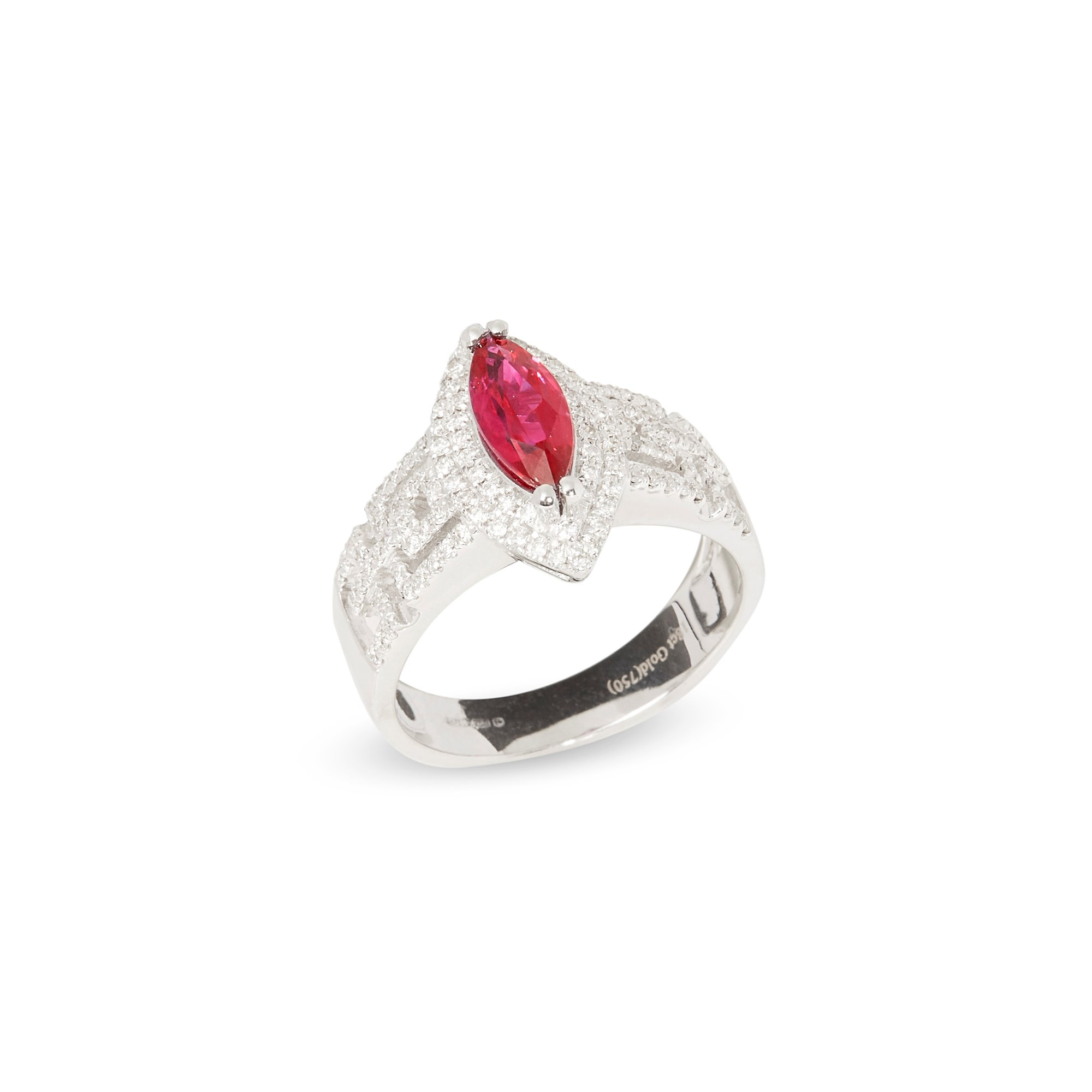 David Jerome Certified 1.13ct Untreated Burmese Marquise Cut Ruby and Diamond 18ct Gold Ring