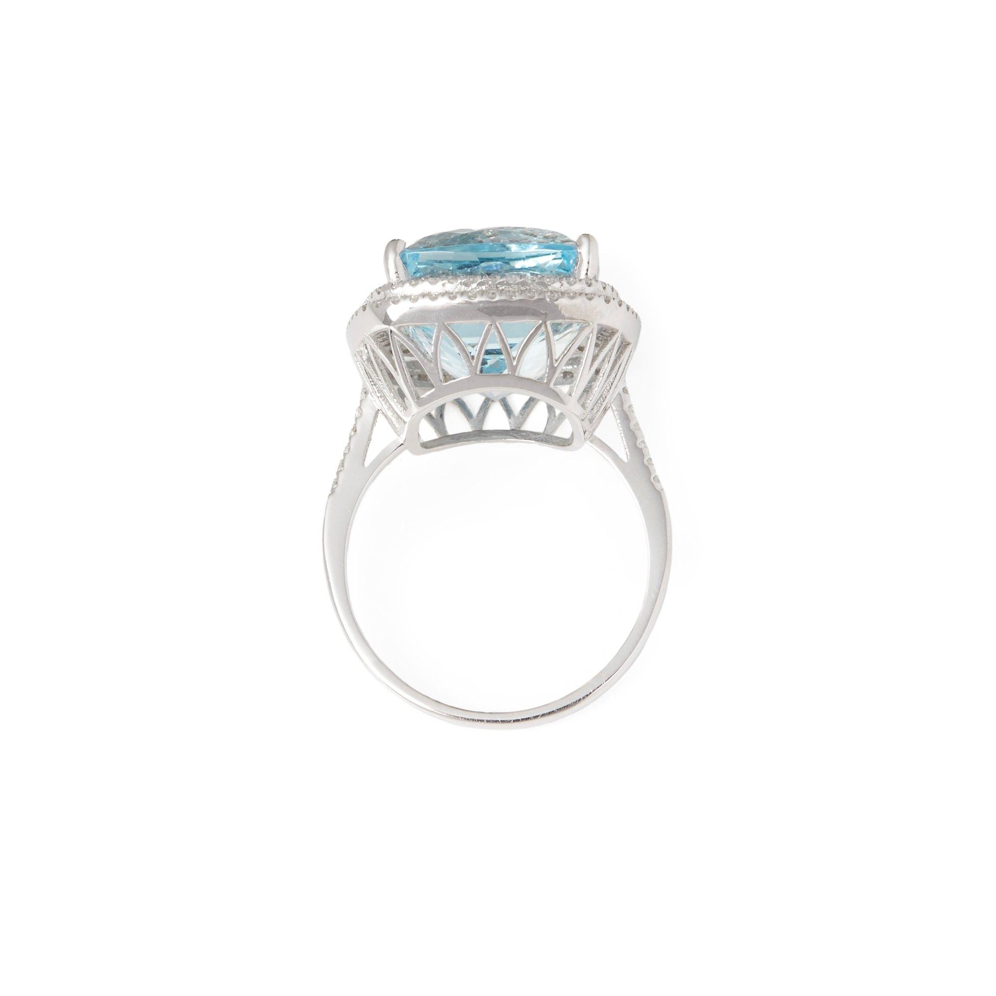 David Jerome Certified 12.56ct Brazilian Cushion Cut Aquamarine and Diamond 18ct gold Ring