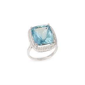 David Jerome Certified 12.56ct Untreated Brazillian Cushion Cut Aquamarine and Diamond Ring