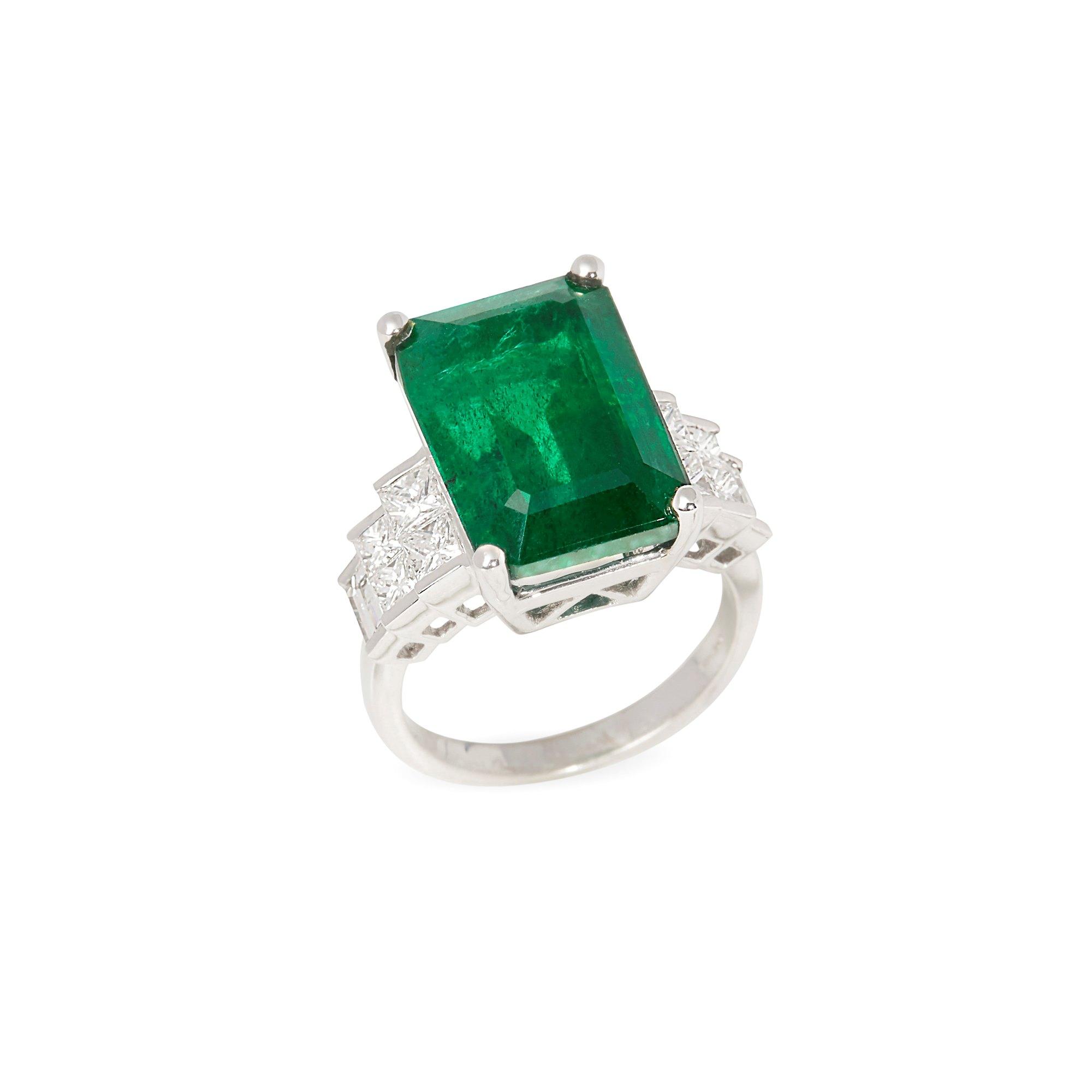 David Jerome Certified 13.77ct Untreated Zambian Emerald Cut Emerald and Diamond Ring