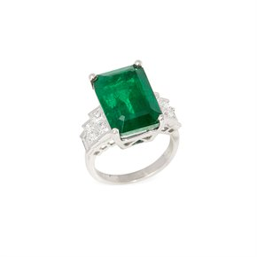 David Jerome Certified 13.77ct Untreated Zambian Emerald Cut Emerald and Diamond 18ct Gold Ring