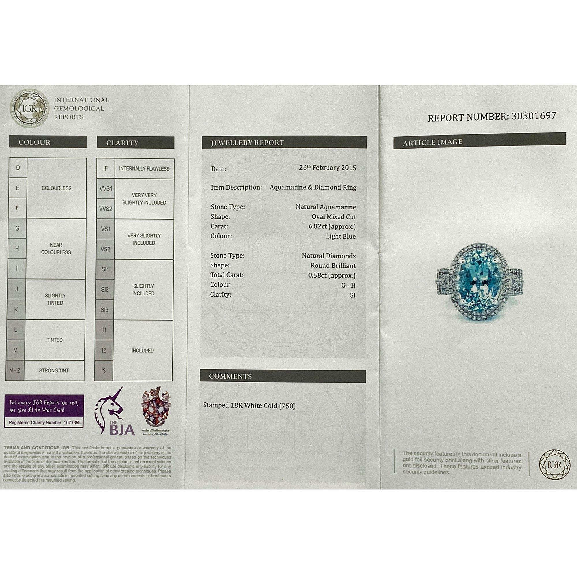 David Jerome Certified 6.82ct Brazilian Oval Cut Aquamarine and Diamond 18ct gold Ring