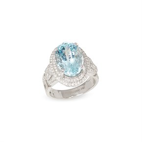David Jerome Certified 6.82ct Brazilian Oval Cut Aquamarine and Diamond 18ct gold Ring