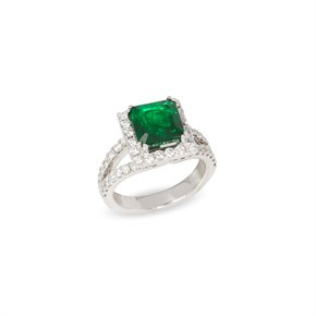 David Jerome Certified 4.6ct Untreated Columbian Square Cut Emerald and Diamond 18ct gold Ring