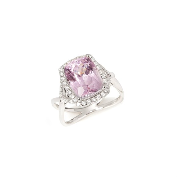 David Jerome Certified 6.69ct Untreated Cushion Cut Kunzite and Diamond Ring