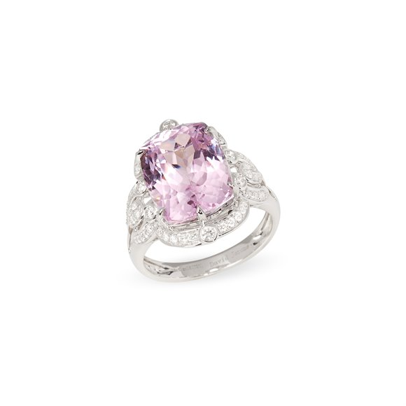 David Jerome Certified 9.94ct Untreated Cushion Cut Kunzite and Diamond Ring