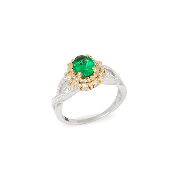 David Jerome Certified 1.03ct Untreated Zambian Oval Cut Emerald and Diamond Ring
