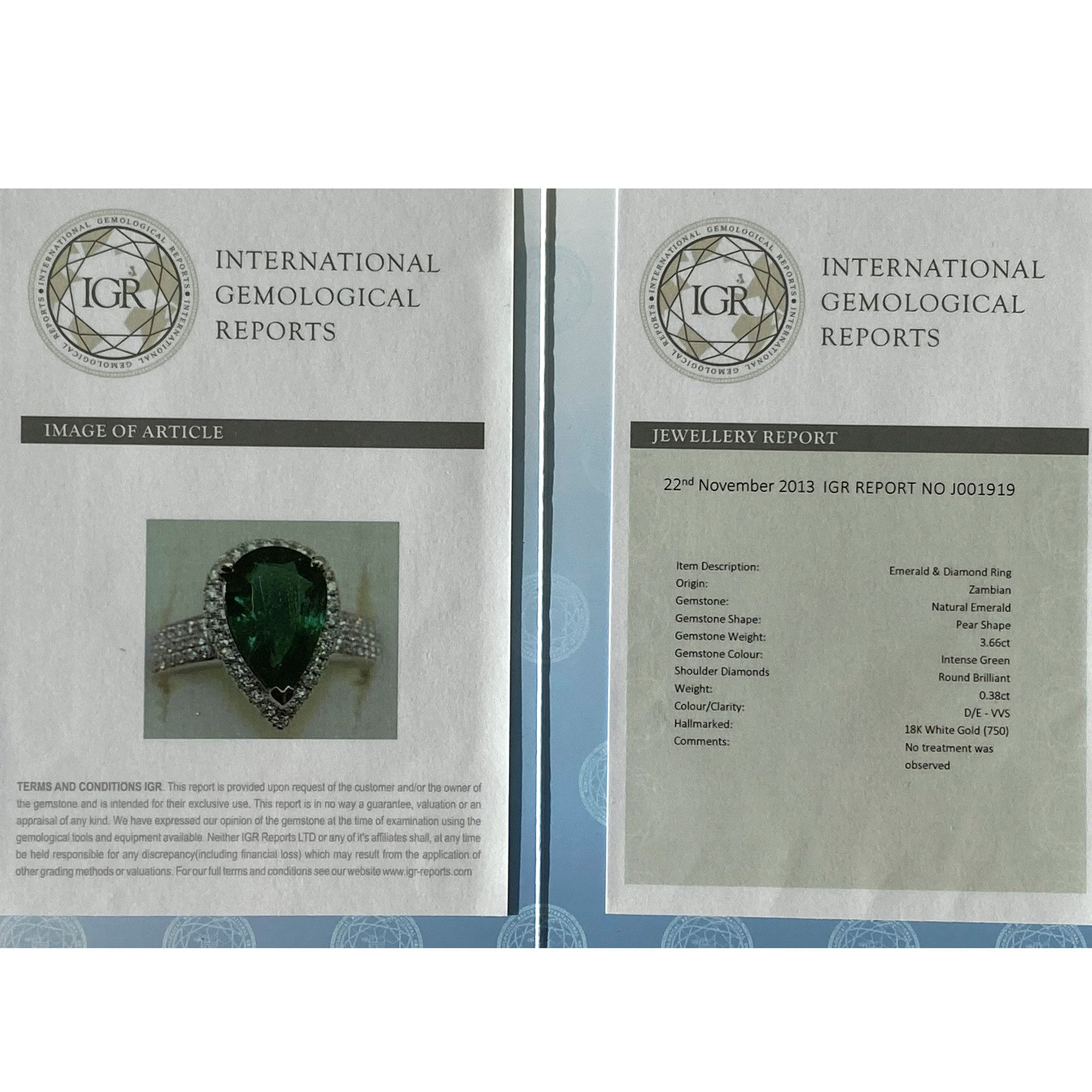 David Jerome Certified 3.66ct Untreated Zambian Pear Cut Emerald and Diamond 18ct Gold Ring