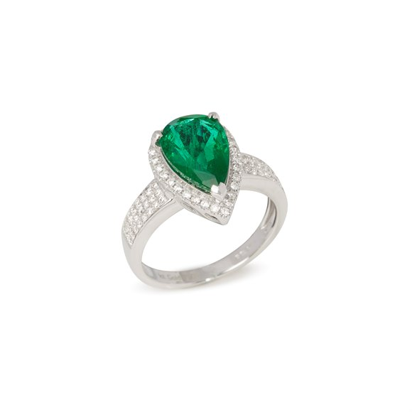 David Jerome Certified 3.66ct Untreated Zambian Pear Cut Emerald and Diamond Ring