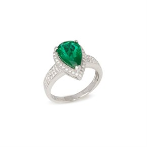 David Jerome Certified 3.66ct Untreated Zambian Pear Cut Emerald and Diamond 18ct Gold Ring